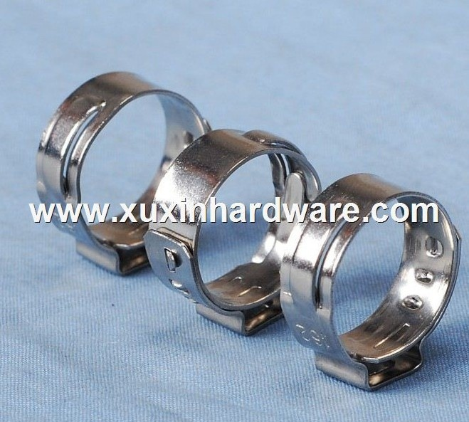 Single ear pinched hose clamp