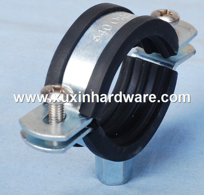 Heavy duty pipe clamps with rubber